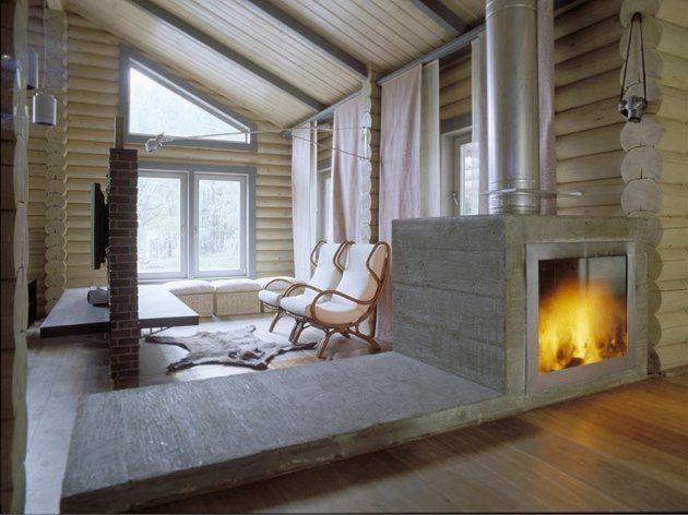 Výsledek obrázku pro moderni srub interier