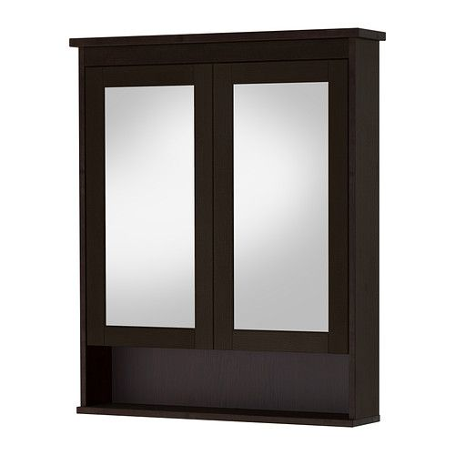 "HEMNES Mirror cabinet with 2 doors - black-brown stain, 32 5/8x6 1/4x38 5/8 "" - IKEA"