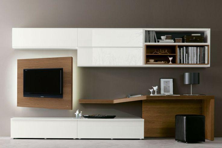 Parete attrezzata 528 con scrittoio e porta tv orientabile in noce canaletto basi e pensili in - Parete attrezzata con porta scorrevole ...