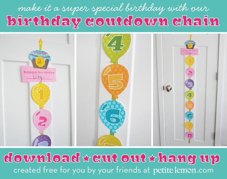 FREE Birthday Countdown Chain project from Petite Lemon