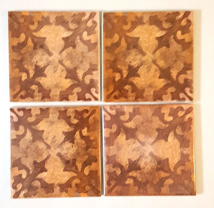 Set of 4 Art Tiles Abstract Tuscan Design Trivet Crafts Base Tray 4.25 size #ConniesCustomCreaations #Mediterranean