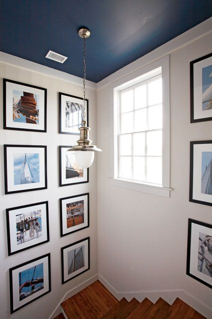 BEDROOM great nautical picture w/navy frames for around the master bedroom headboard. Blue on the ceiling!