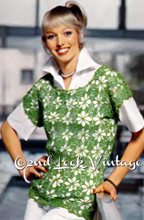 Vintage 1970s Crochet Pattern Lacy Flower Beach by 2ndlookvintage