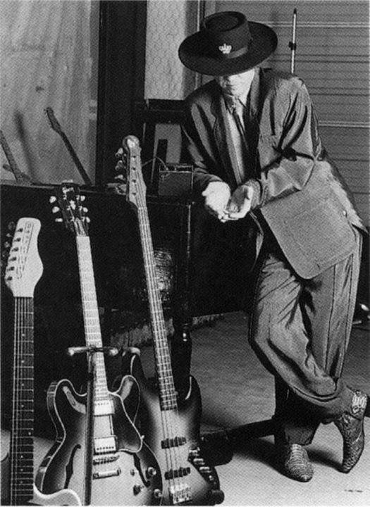 Stevie with his guitars...