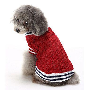 Gatos+Cães+Súeters+Roupas+para+Cães+Inverno+Blocos+de+cor+Casual+Mantenha+Quente+Natal+Vermelho+Azul+–+BRL+R$+102,72