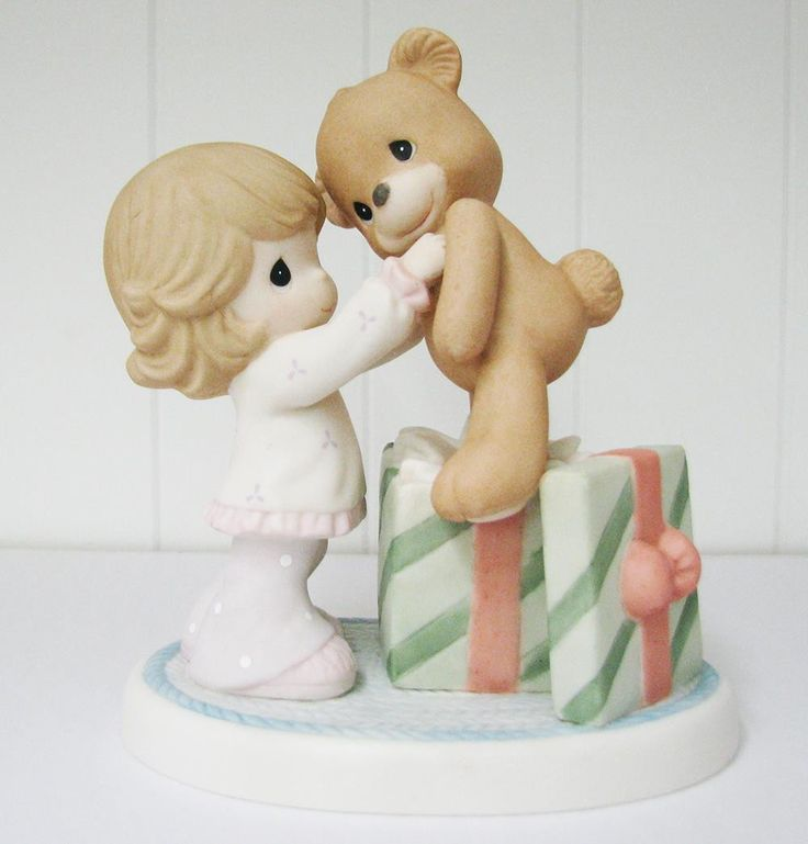 Girl With Tedy Bear Figurine