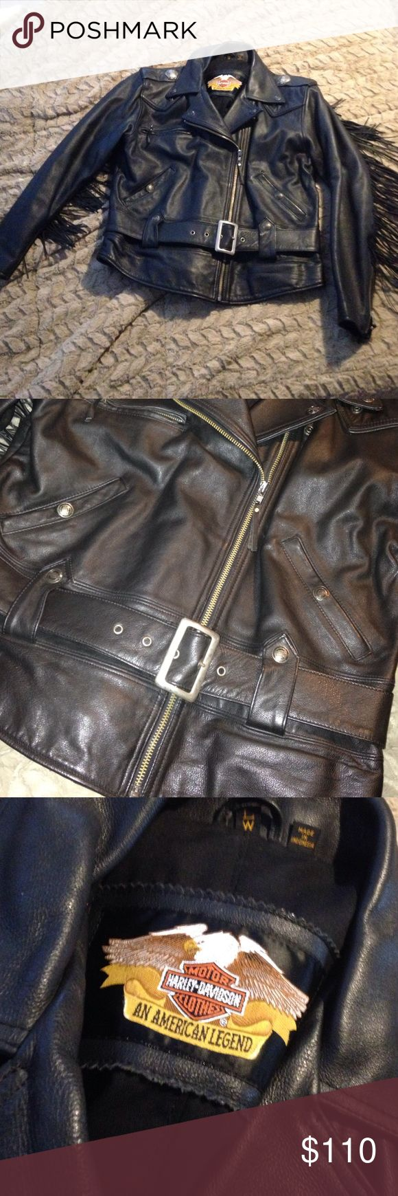 Harley Davidson Ladies leather jacket Black leather jacket with fringe on sleeves and back. Like new condition, only worn a couple of times. Just hanging in my closet-needs a loving home❤ Harley-Davidson Jackets & Coats