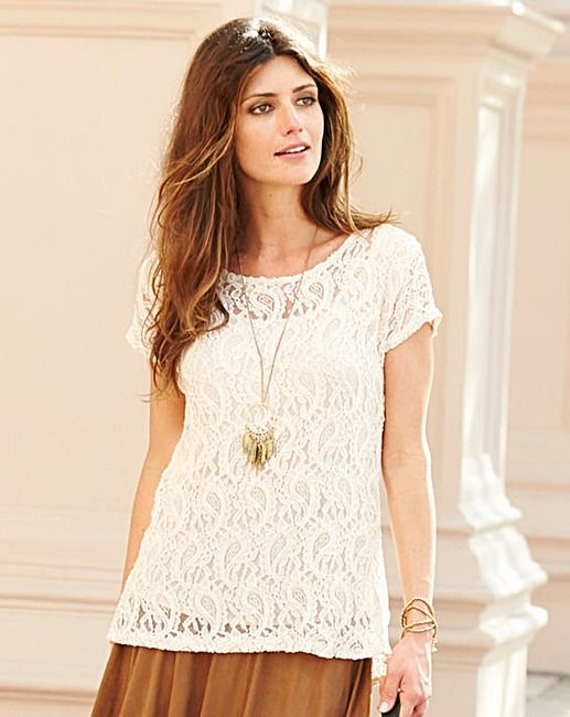 JOANNA HOPE Bow Back Detail Lace Top   Fifty Plus