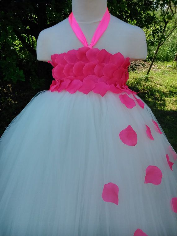 Rose flower girl tutu dress in ivory – wedding tutu dress – birthday tutu dress – party tutu dress – pageant dress – tutu dress