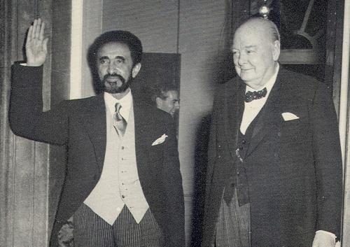Haile Selassie with Winston Churchill, 1954.