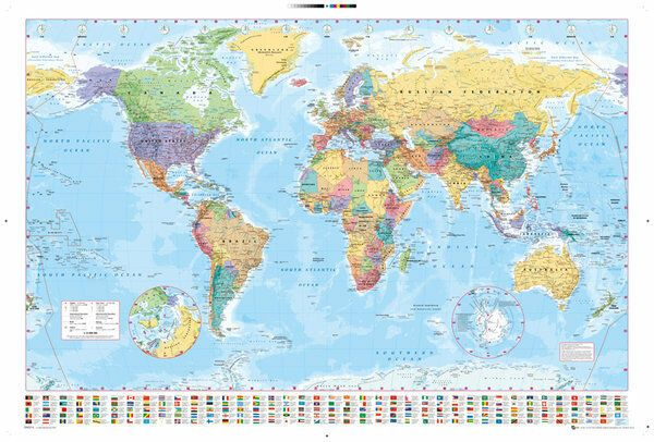 World Map Flags Annotated *Exclusive* 2 Sizes Giant Poster Art Print