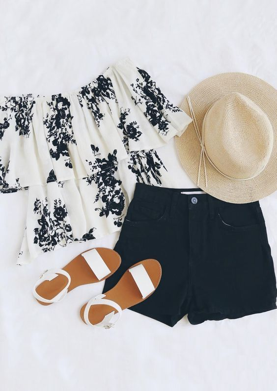 2017 Spring & Summer Fashion. Stitch Fix - off the shoulder white top with black floral detail. Black shorts. Straw hat. #sponsored #stitchfix