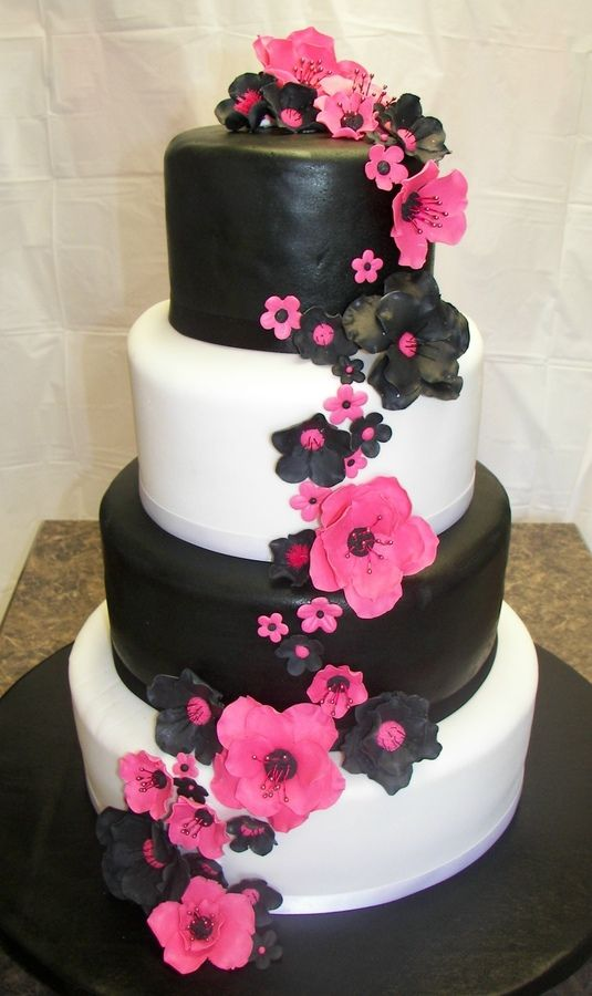 Hot Pink and Black Birthday Cake | ... flowers, black and white fondant covered tiers, cake fed 100 people