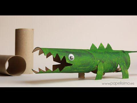 Cocodrilo: Manualidades con rollos papel higiénico - YouTube