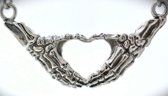 skeleton hands making an I heart you sign necklace by billyblue22...