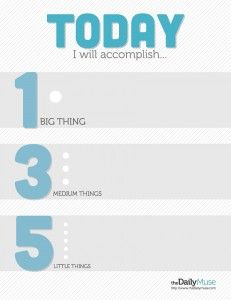 A Better To Do List: The 1 3 5 Rule. On any given day, assume that you can only accomplish one big thing, three medium things, and five small things, and narrow down your to-do list to those nine items.