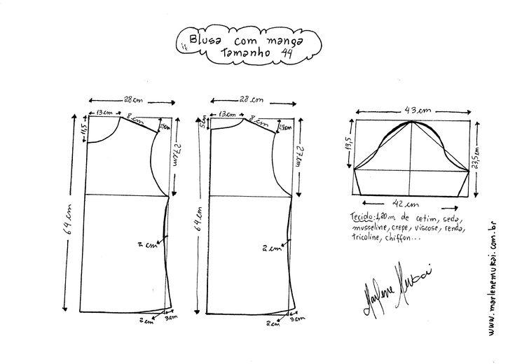 Esquema de modelagem de Blusa Básica tamanho 44.