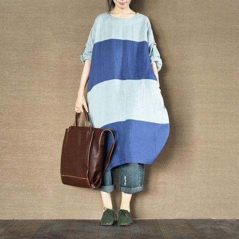 Stitching Ramie Stripe Dress Plus Size Oversize Top Causel Women Clothes