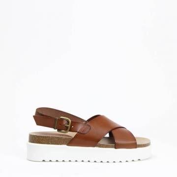 KMB W395 Cross Strap Platform Sandal Roble Leather