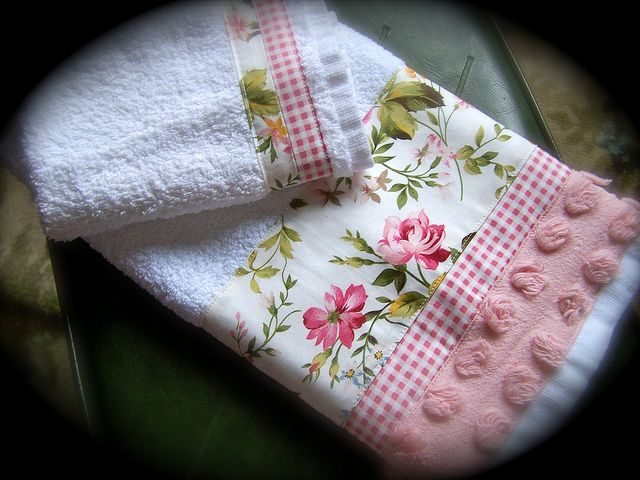 "I think I HAVE to try these! : use of minky fabric as a ""ribbon"" on the towel.     Shabby chic bathroom towels by Decorative Towels - Created by Cath., via Flickr"