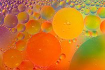 Rapeseed Oil Bubbles in Water by Tony Howell. Texture, form and colour, Minimalist approach