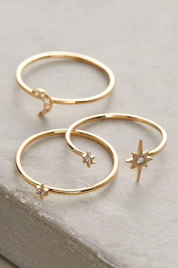 Amazing Anthropologie Celestial Stacking Rings / dainty gold jewelry