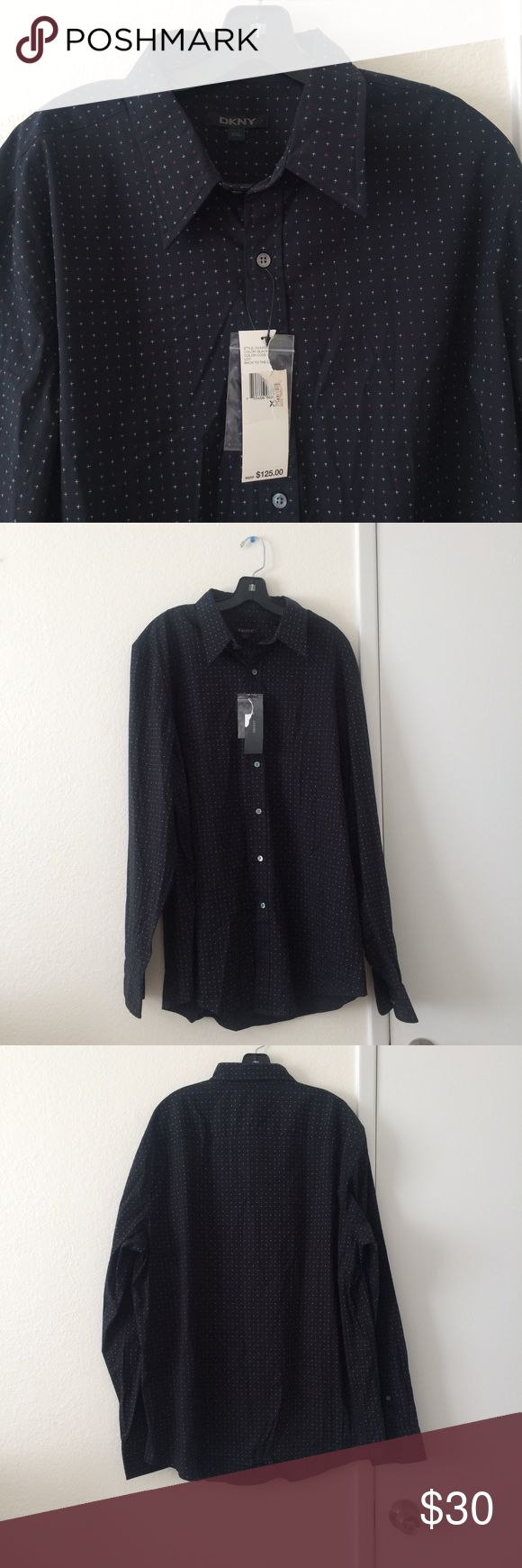 👔DKNY Men's XXL Long Sleeve Button Down BRAND NEW with TAGS completely flawless button down shirt from DKNY in size XXL. Shirt is black with red, white, and blue cross design all over. Buttons are all intact and are an iridescent, pearl-like color. Approximate measurements are below.  Sleeve length: 27 inches Neck: 19 inches Chest: 26 inches Top of shoulder to bottom hem: 33 inches Dkny Shirts Casual Button Down Shirts