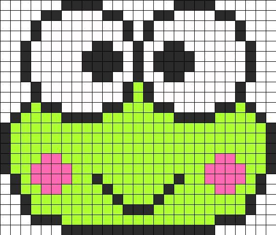 keroppi perler bead pattern perler bead patterns characters fuse bead patterns. Black Bedroom Furniture Sets. Home Design Ideas