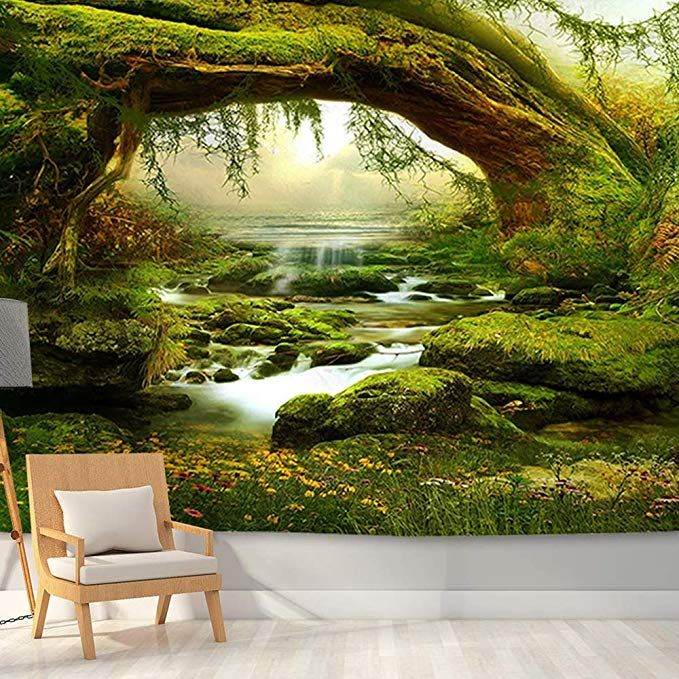 Bjyhiyh Large Nature Tapestry Wall Hanging Tapestries Brook Forest Tapestry For Bedroom Living Room Dorm Tapestry Wall Hanging Tapestry Nature Forest Tapestry