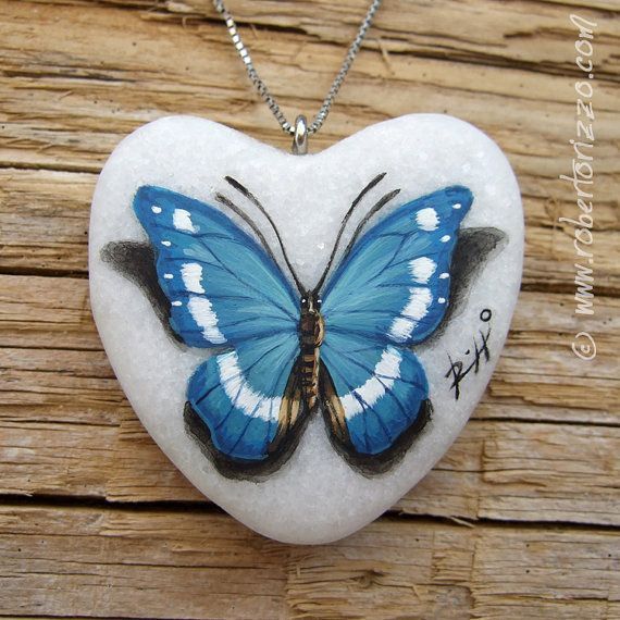 Heart Shaped Blue Butterfly Pendant | Hand Painted Jewels by Roberto Rizzo