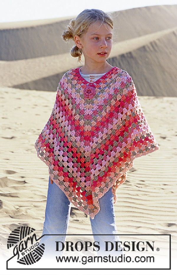 Girl poncho Summer poncho Cotton poncho Pink poncho colorfyl poncho multicolor top crochet poncho boho poncho boho girl Long poncho Lilith by LilithCreationBoutik on Etsy