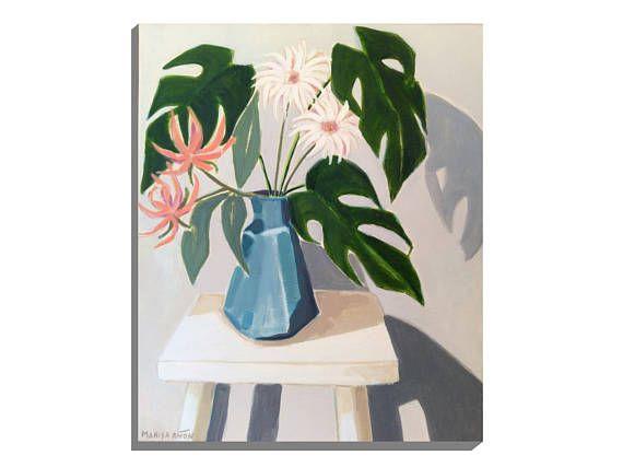 Vase Flowers Original Floral Art Plant Stool