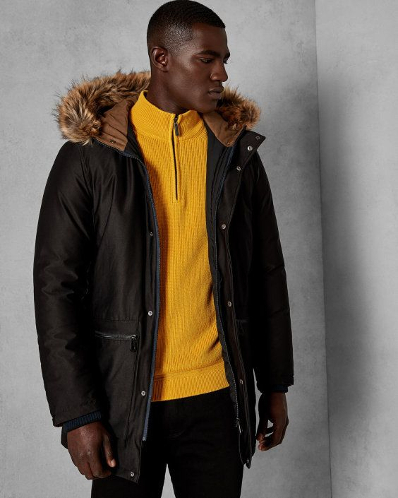 cbe8a88a783 Faux fur hooded parka - Black | Jackets and Coats | Ted Baker UK ...