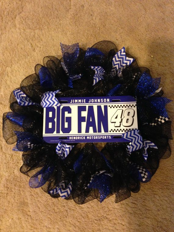 Jimmy Johnson Big Fan 48 deco mesh wreath. by ChristysCraftshop, $59.00