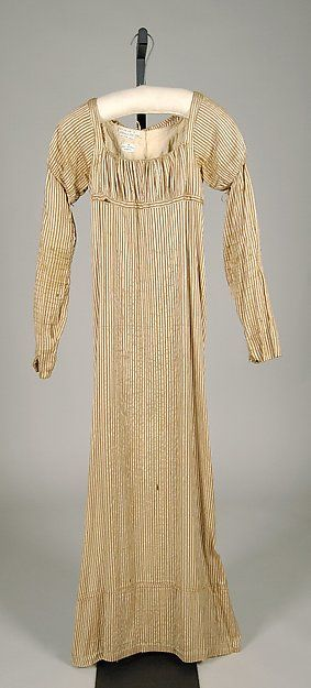 """Dress, ca. 1815,  American. Silk. Brooklyn Museum Costume Collection at The Metropolitan Museum of Art (2009.300.7593) [Note to self- this is the dress with back bodice lining free of outer fabric at top, sides and bottom at center back. Indication of a pin closing to the two liner sides - perhaps so outer fabric """"gap"""" between ties does not expose underpinnings? Saw similar back bodice lining construction on dress at the Valentine Museum in Richmond, VA.)"""