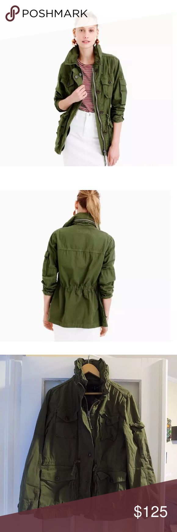 J. Crew Mechanic Hillside Green Military Jacket This jacket is brand new with tags from J. Crew. I have to narrow down my green jacket collection and never got a chance to wear this one so I must say goodbye.... it's garment dyed, broken in and built to handle everything from tailgating to those chilly morning commutes. Cotton. Standing collar with a zip in hood. Hidden zip with button closure. J. Crew Jackets & Coats Utility Jackets