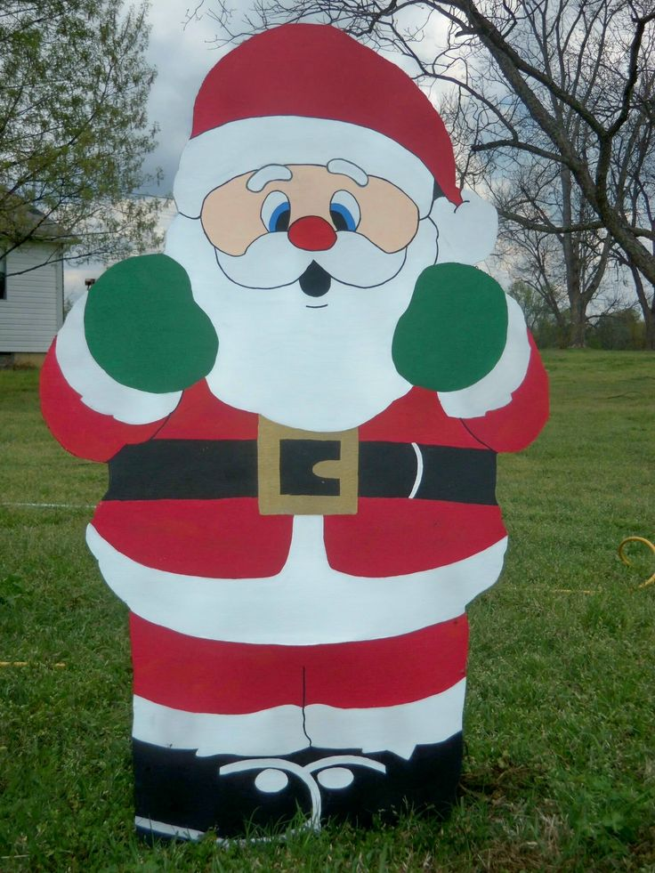 Santa Wood Holiday Yard Art Decoration Piece. 4' Christmas yard decorations
