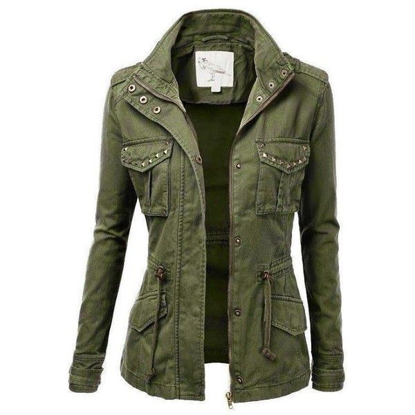 The Vogue Fashion Ladies Military Stud Jacket Pepino Lady Fashion ❤ liked on Polyvore featuring outerwear, jackets, military style jacket, military jacket, studded jacket, military inspired jacket and green studded jacket
