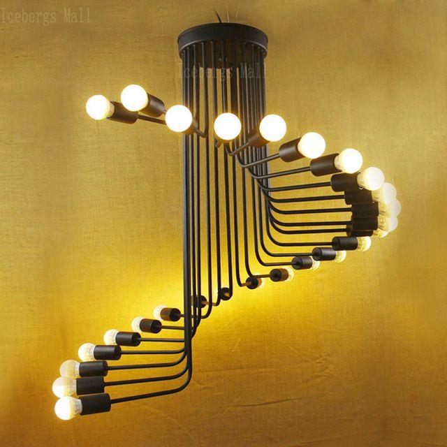 Лофт Ретро Промышленные Лестницы Подвесные Светильники Творческий Кафе-Бар Винтовая Лестница Гостиная Кованого Железа Droplight Лампы