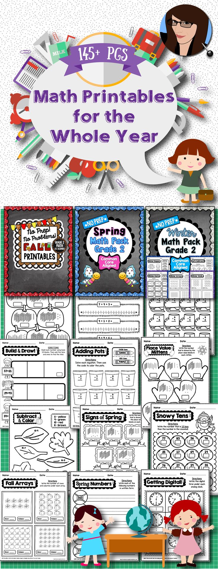 Seasonal No Prep Math Printables for the Whole School Year - 2nd Grade (145+ pages)