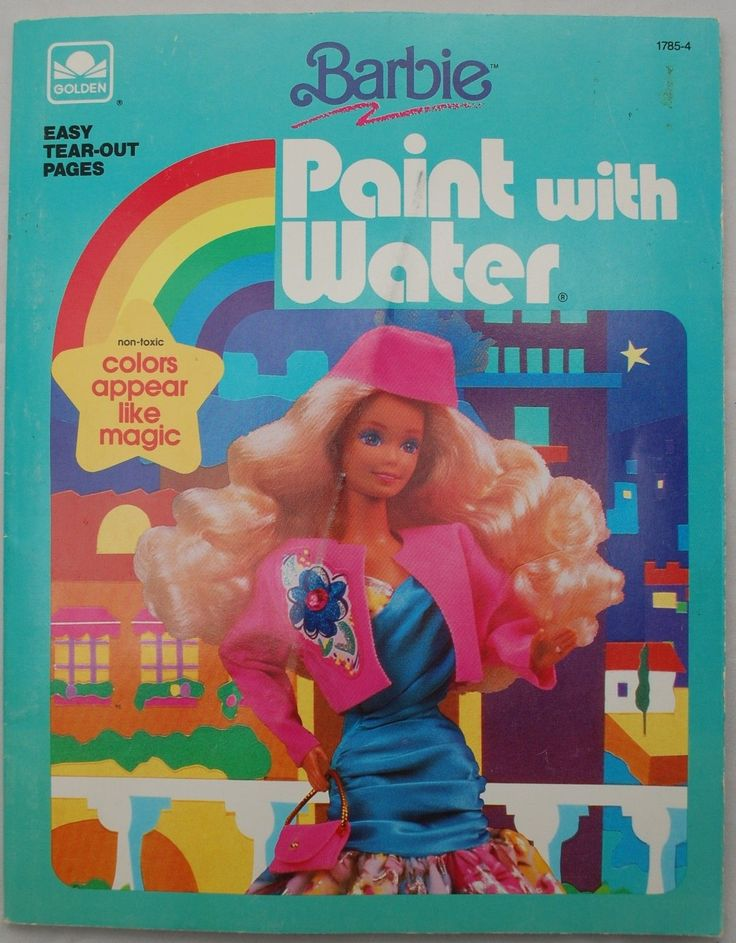 Barbie Paint With Water Coloring Book 1990 Unused Golden 1785 4 Brush
