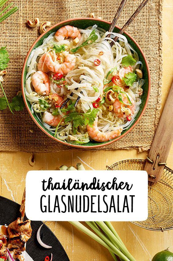 Thailändischer Glasnudelsalat mit Garnelen   Rezept in 2019   FOOD ...