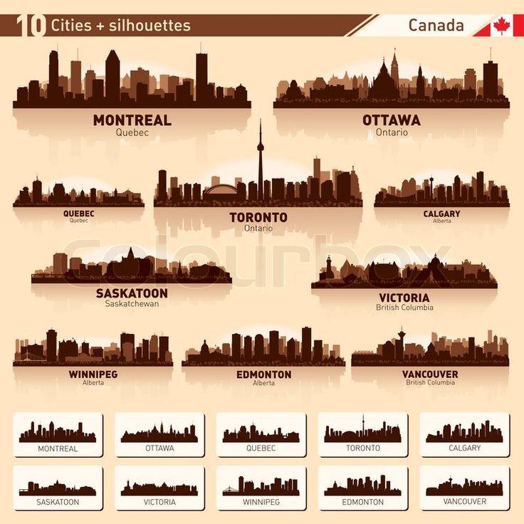 City skyline set 10city silhouettes of Canada #1   Vector   Colourbox on Colourbox