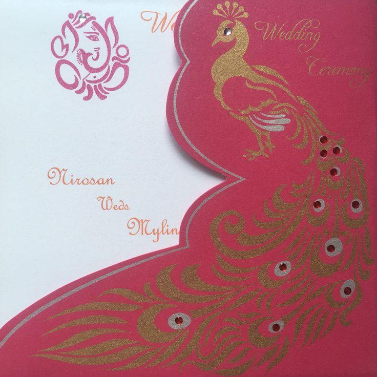 telugu wedding invitation cards online%0A Indian wedding invitation card peacock orange  u     pink   My Tamil hindou  wedding   Pinterest   Indian wedding invitation cards  Indian wedding  invitations and