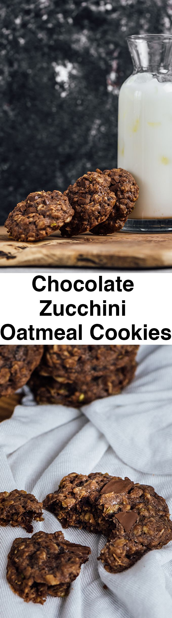 Chocolate Zucchini Oatmeal Cookies are surprisingly soft and chewy. That's how I love my cookies. Plus these have one of my favorite veggies.