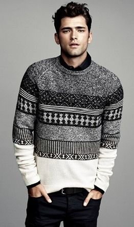 black and white geometric print sweater . winter.  men's fashion, men's style