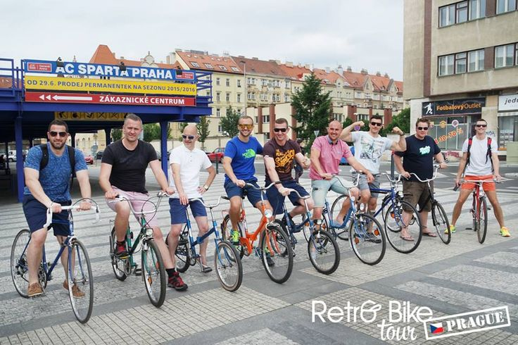 All our bike in front of the Sparta Prague Stadium