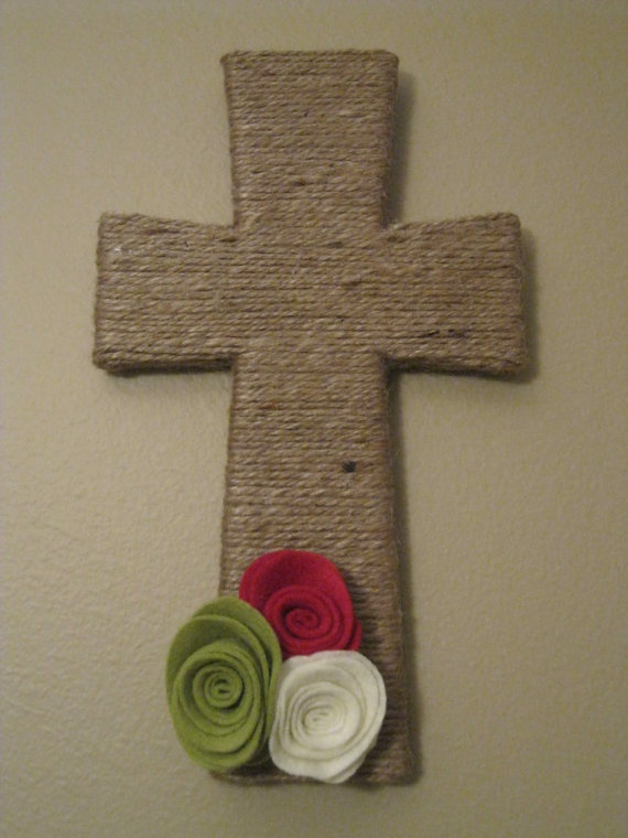 Twine Wrapped Cross with Interchangeable Felt by TurtlesandTiaras, $20.00