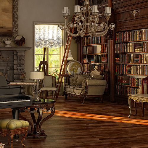 Victorian Room By *sanfranguy On DeviantART Love This Library And Music Room  Combo