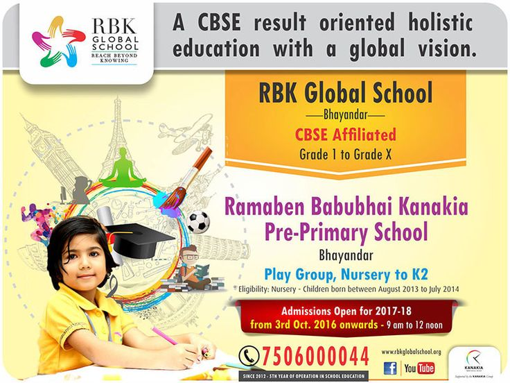 The admission is open for Pre-primary school, Play group, Nursery to K2 kids. Eligibility: Nursery- Children born between 01 August 2013 to 31 September 2014. Admission running successfully for 2017-18.